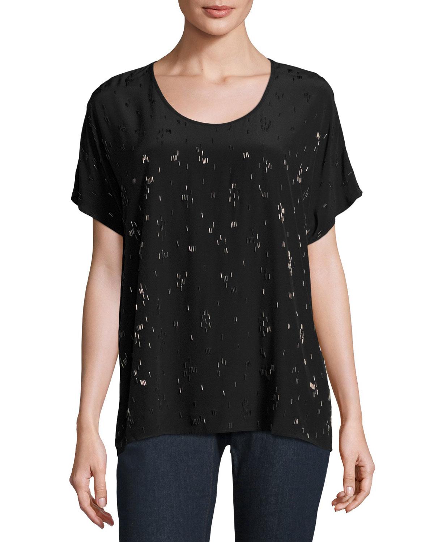 Falling Star Beaded Silk Tee, Black, Plus Size