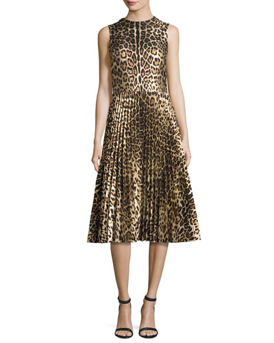 Sleeveless Leopard-Print Pleated Dress, Nero