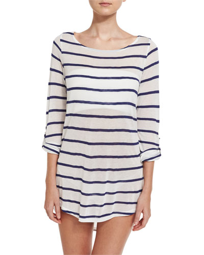 Striped Scoop-Back Coverup Tunic