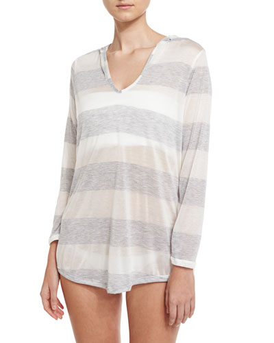 Homespun Striped Hoodie Coverup Tunic