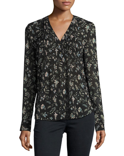 Vintage Bloom Silk Blouse, Black/Multicolor