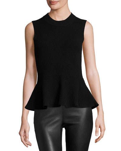 Billie Sleeveless Cashmere Peplum Top, Solid Black