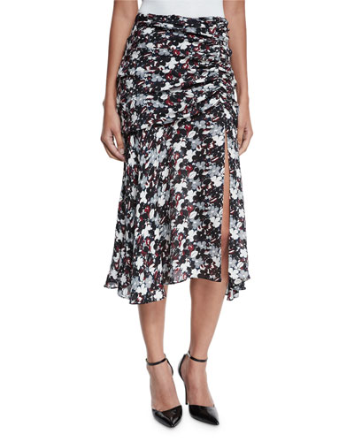 Madison Floral Silk Midi Skirt, Black/Navy/Red/White