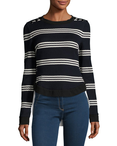 Long-Sleeve Striped Mixed-Media Top, Navy/White
