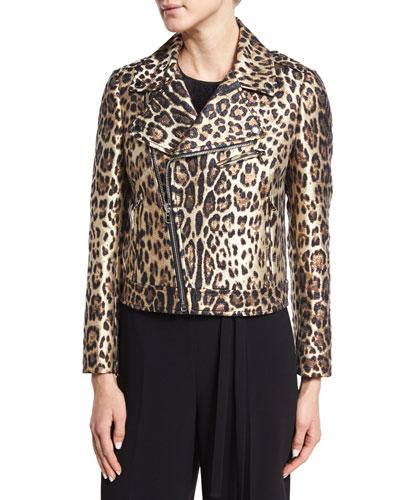 Leopard-Print Moto Jacket, Nero