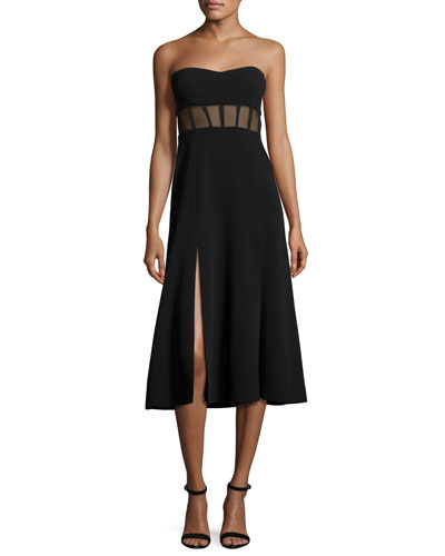 Honora Bustier Midi Dress, Black