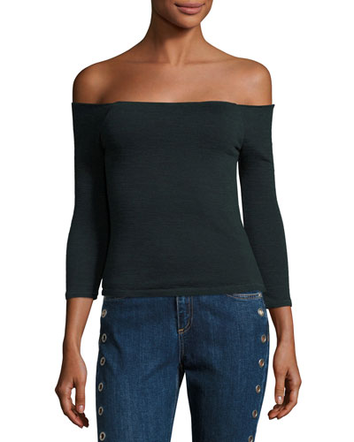 Donna Off-the-Shoulder Knit Top, Scarab/Black