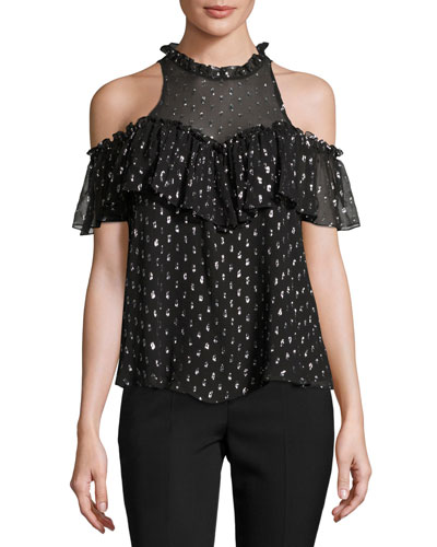 Metallic Clip Sleeveless Ruffle Top, Black