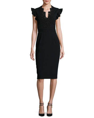 Lace-Trim Crepe Sheath Dress, Black
