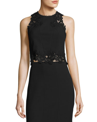 Piqué Lace-Trim Crop Top, Black
