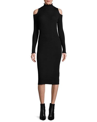 Cold-Shoulder Ribbed Merino Midi Dress, Black