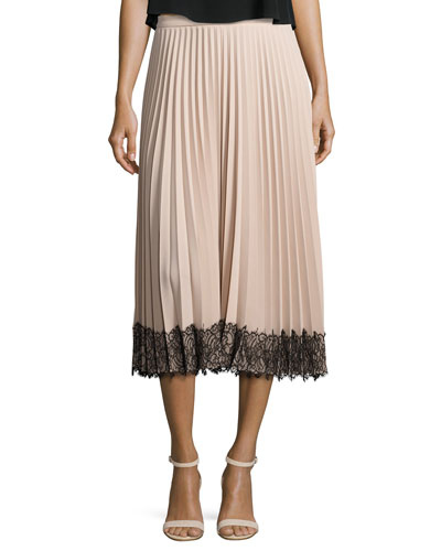 Pleated Lace-Trim Midi Skirt, Poudre