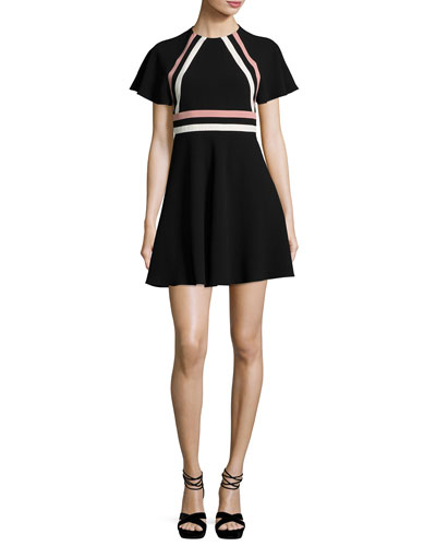 Short-Sleeve Striped Crepe Dress, Nero/Cipria/Panna