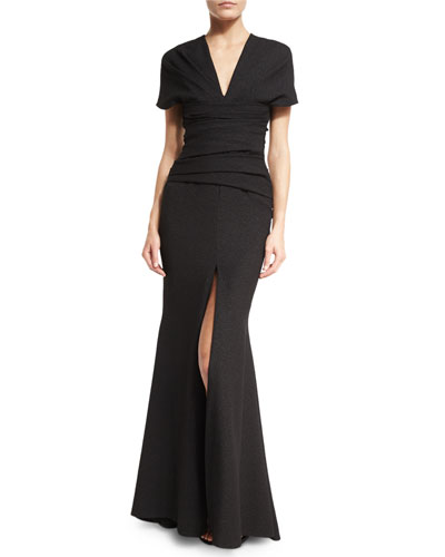 Montano V-Neck Short-Sleeve Front-Slit Gown, Black