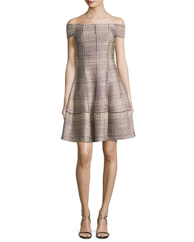 Off-the-Shoulder Tweed A-Line Dress, Copper