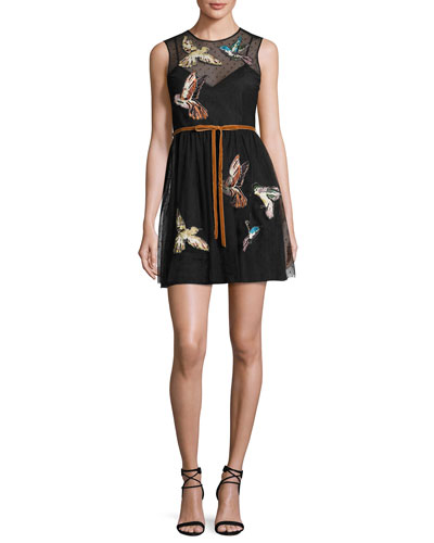 Sleeveless Point d'Esprit Dress w/ Embroidered Hummingbirds, Nero
