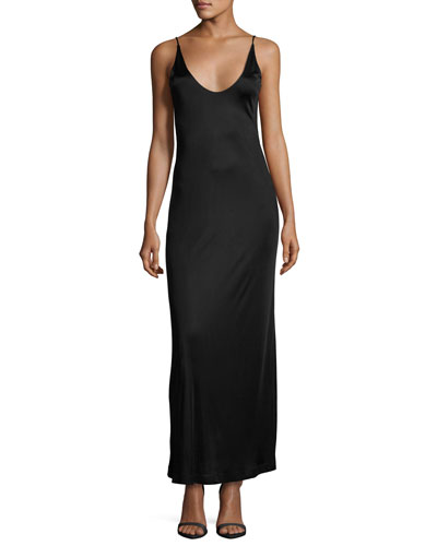 Sleeveless Strappy Satin Maxi Dress, Black