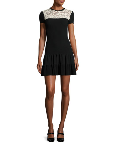 Short-Sleeve Lace-Yoke Fit-&-Flare Dress, Nero/Ecru