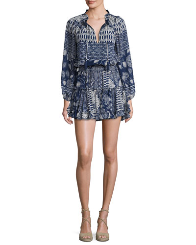 Lorena Printed Blouson Dress, Blue Nile