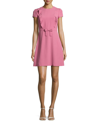 Short-Sleeve Ruffle-Front A-Line Dress, Blush