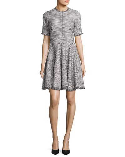 Short-Sleeve Fringe-Trim Boucle Tweed Fit & Flare Dress