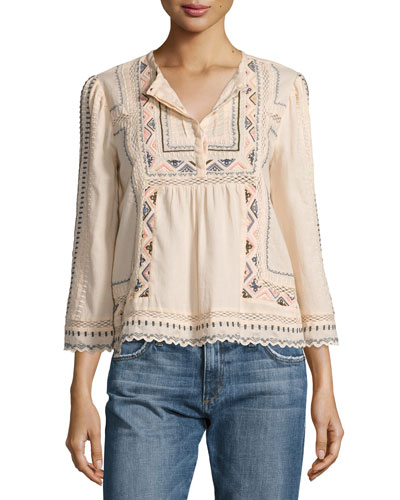 Esme Embroidered Peasant Top, Ballet Combo