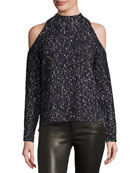 Boucle Cold-Shoulder Mock-Neck Sweater, Black