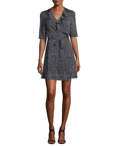 Savilla Ruffle-Trim Silk Jersey Wrap Dress