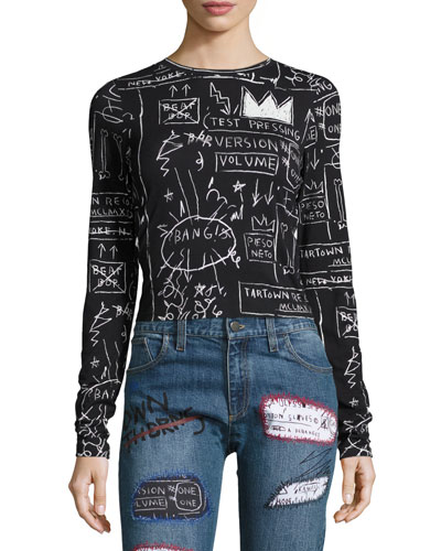 Delaina Printed Long-Sleeve Crop Tee