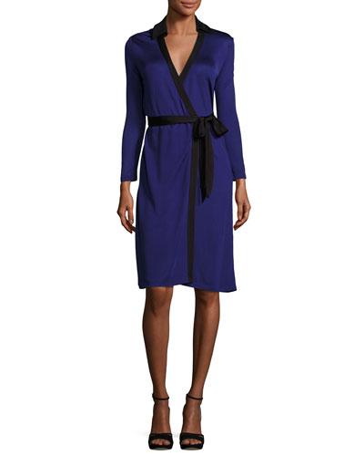New Jeanne Wrap Dress w/Contrast Trim, Azurite Blue/Black