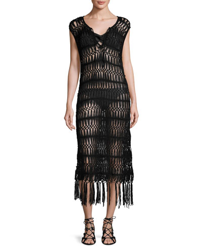 Raven Macrame Coverup Dress