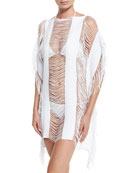 Monique Shredded Fringe-Trim Coverup