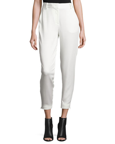 Tailored Stretch Crepe Cropped Pants, Gesso