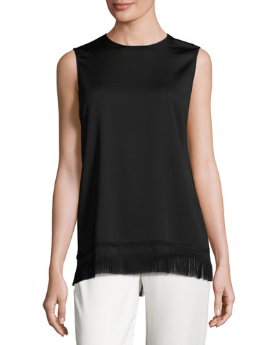 Sleeveless Crepe Fringe Tunic, Black