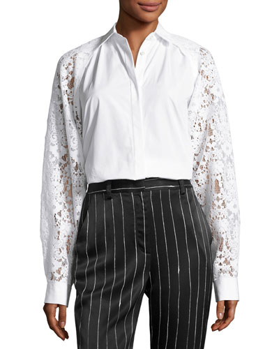 Collared Lace-Trim Poplin Shirt, White