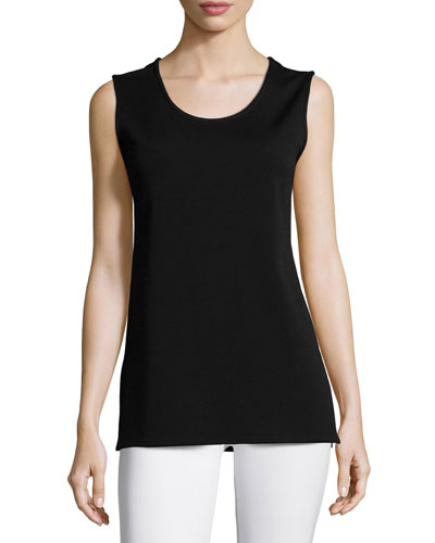 Wool Knit Longer Tank, Black, Plus Size