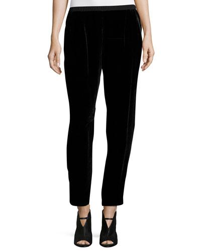 Velvet Slouchy Ankle Pants, Black