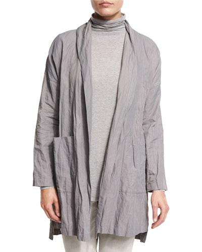 Lightweight Textured Kimono Jacket, Smoke, Plus Size