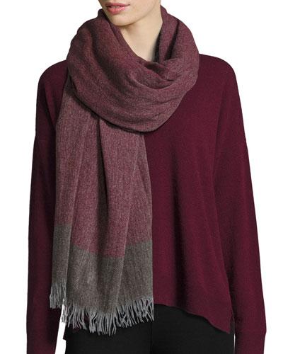 Colorblock Wool-Cashmere Wrap, Raisonette