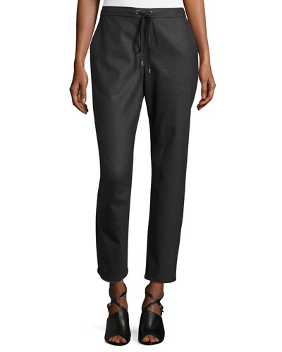 Stretch-Flannel Twill Slouch Pants, Charcoal