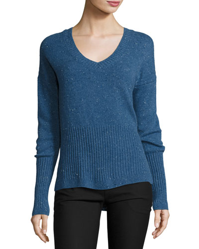 Melange Cashmere V-Neck Sweater, Blue