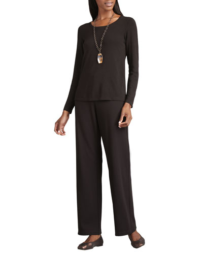 Straight-Leg Ponte Pants, Plus Size