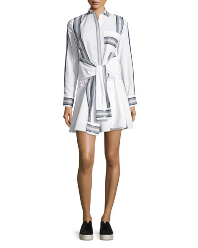 Long-Sleeve Poplin Tie-Waist Shirtdress
