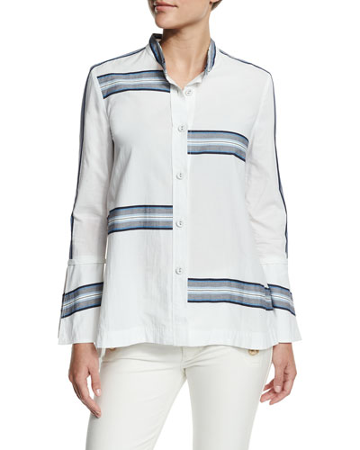 Bell-Sleeve Poplin Striped-Trim Blouse, Soft White