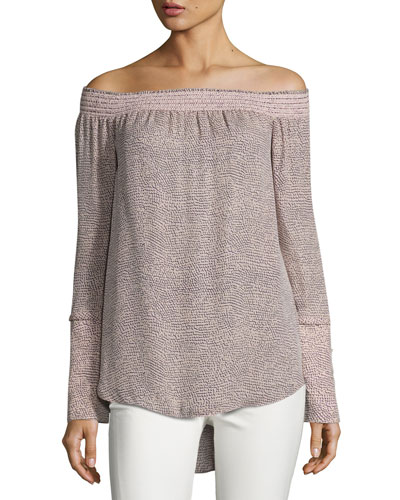 Printed Silk Off-the-Shoulder Blouse, Pink