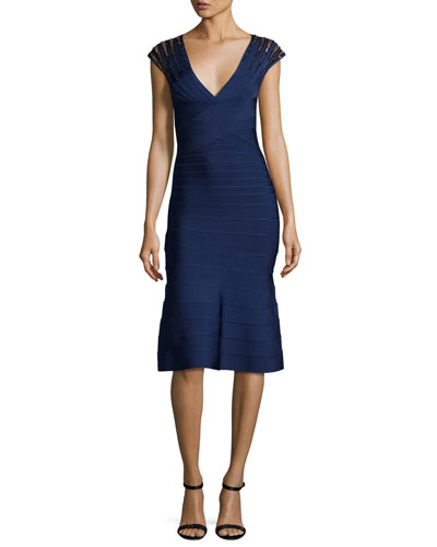 Cap-Sleeve Flounce Bandage Dress, Classic Blue/Combo