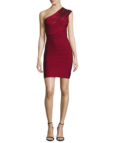 Sequined One-Shoulder Bandage Dress, Cranberry/Combo