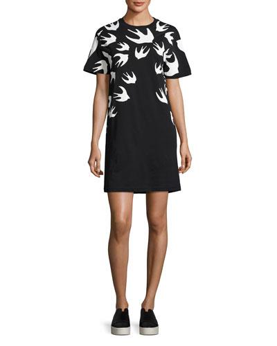 Short-Sleeve Jersey Swallow-Print T-Shirt Dress, Black