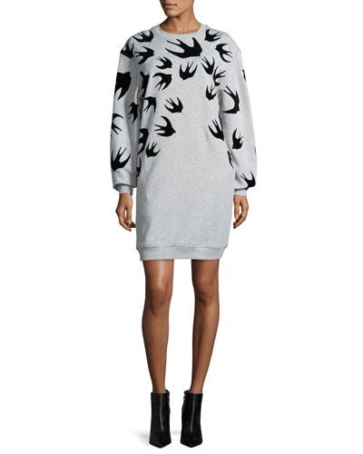 Classic Swallow-Print Sweat Dress, Mercury Melange