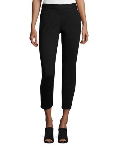 Slim Stretch-Knit Ankle-Zip Pants, Black